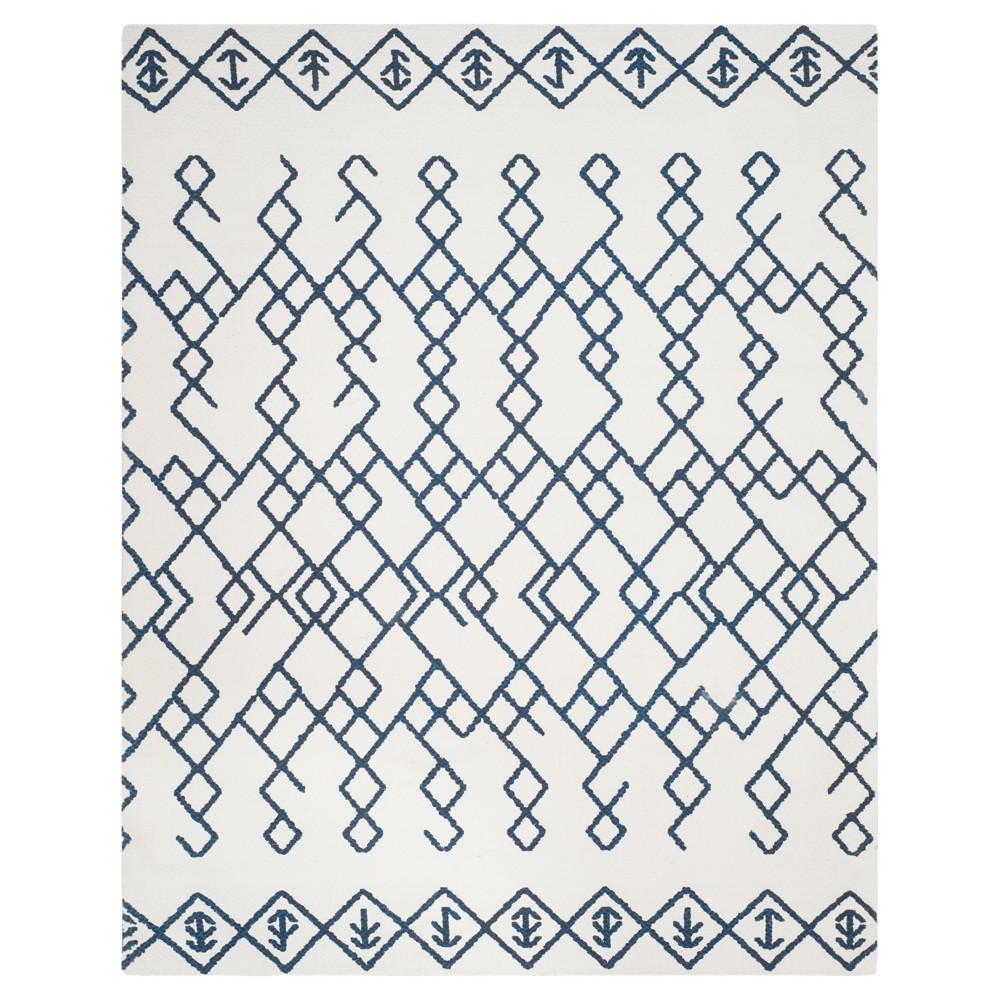 Ivory/Navy (Ivory/Blue) Geometric Loomed Area Rug 5'X8' - Safavieh
