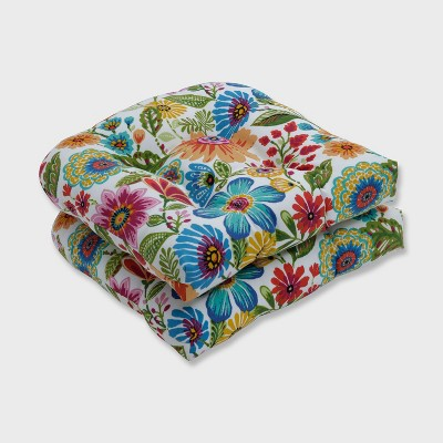 2pk Gregoire Prima Wicker Outdoor Seat Cushion Blue - Pillow Perfect