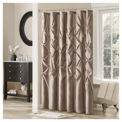 """72""""x72"""" Piedmont Solid Polyester Shower Curtain Brown/Blue"""