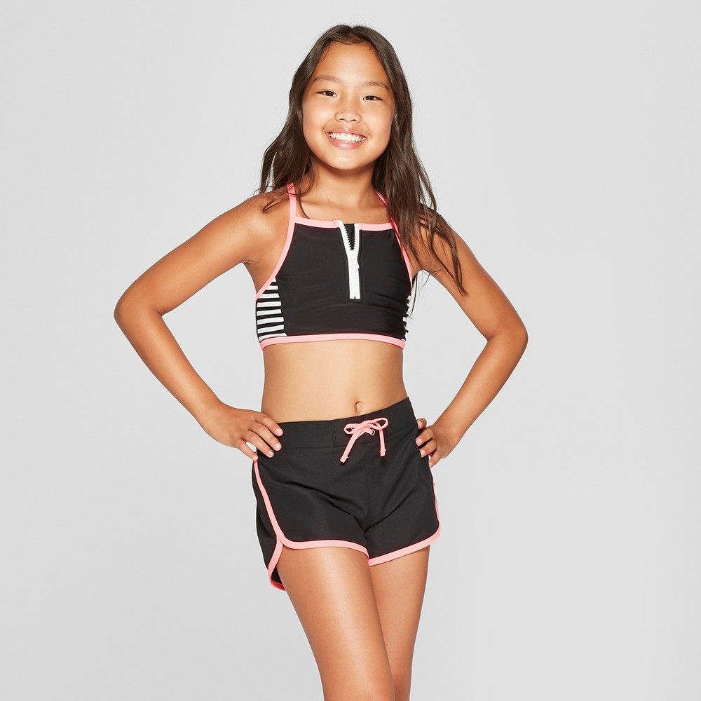 Girls' Color Block Pop Bikini with Shorts Set - Cat & Jack Black L