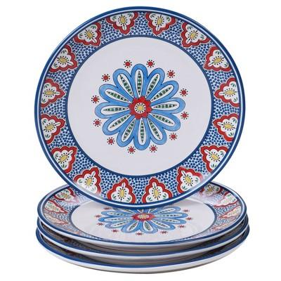 11  4pk Earthenware Tangier Dinner Plates Blue - Certified International