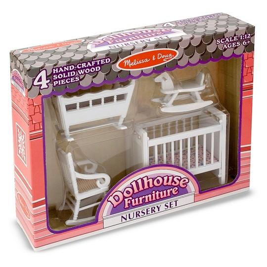 Melissa & Doug Classic Wooden Dollhouse Nursery Furniture (4pc) - Crib, Basinette, Rocker, Rocking Horse image number null