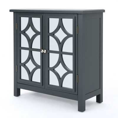 Melora Fir Wood Cabinet with Mirrored Doors Charcoal Gray - Christopher Knight Home