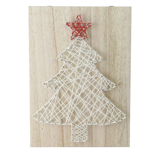 northlight 11 crazy string natural finished wood and white string christmas tree wall decoration