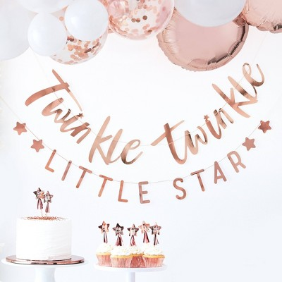 """""""Twinkle Twinkle"""" Bunting Party Decorations Rose Gold"""