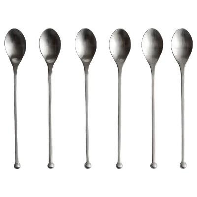 Knork 8 Inch Handle 18/0 Stainless Steel Cocktail Tea Beverage Stirring Spoons, Gloss Silver, Set of 6