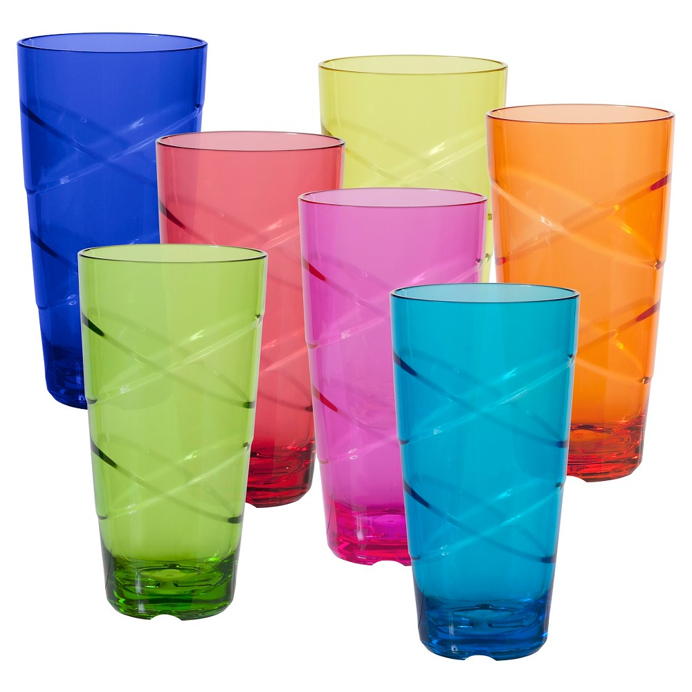 Image of CreativeWare Set of 8 Circus Tumblers 24oz Acrylic, Multi-Colored