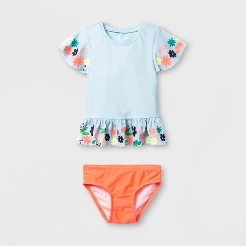 5d1c0f5d31bbc Toddler Girls' 2pc Short Sleeve Rash Guard Set - Cat & Jack™ Blue ...