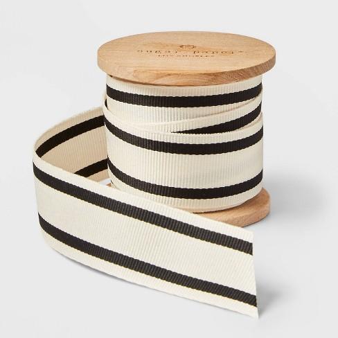 "1"" Cream with Black Stripe Grosgrain Ribbon 5 Yards - sugar paper™ - image 1 of 4"