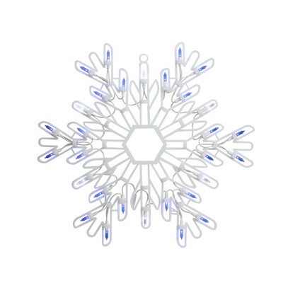 "Northlight 15"" LED Lighted Pure White and Blue Snowflake Christmas Window Silhouette Decor"
