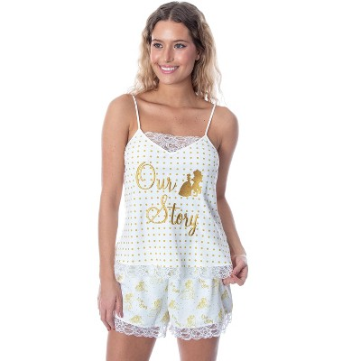 Disney Women's Beauty and The Beast Our Story Cami and Shorts Pajama Set