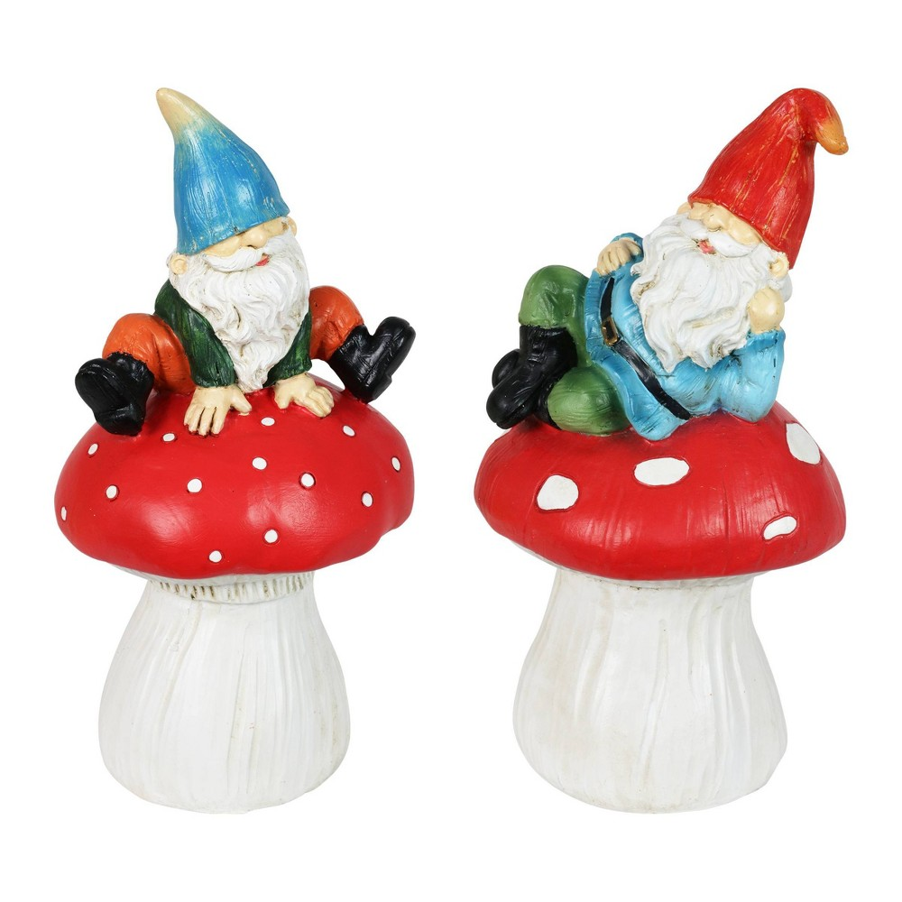 Cheap Resin Set of Mushroom Garden Gnomes - Exhart