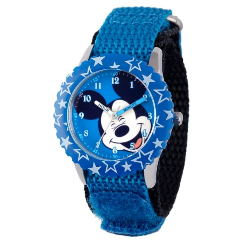 Boys' Disney Mickey Mouse Stainless Steel Case with Bezel Watch - Blue - image 1 of 2