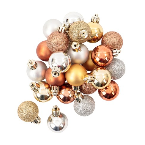 Mini Ball Plastic Christmas Ornament Set Metallic Caramel/Silver/Gold 25ct - Wondershop™ : Target
