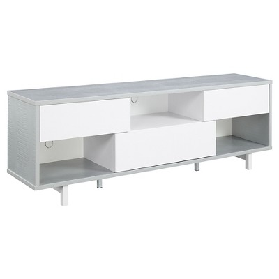 """Newport Ventura TV Stand for TVs up to 60"""" Gray Faux Croc/White - Breighton Home"""