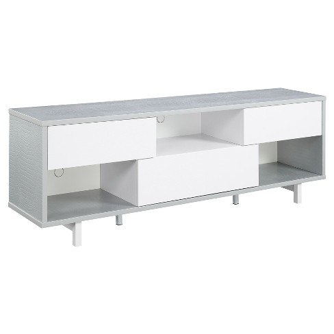 Newport Ventura 60 inch TV Stand Gray Faux Croc and White - Breighton Home - image 1 of 3