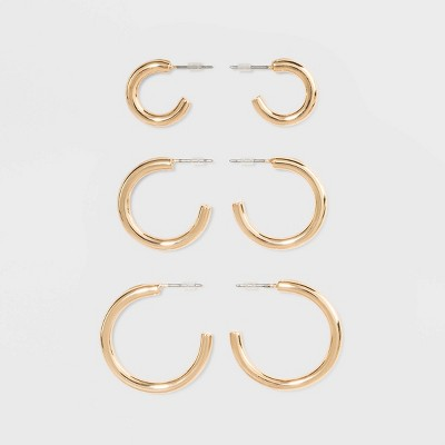 Open Graduated Size Hoop Earring Set 3ct - Wild Fable™ Gold