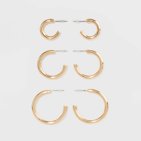 Open Graduated Size Hoop Earring Set 3ct - Wild Fable™ Gold - image 1 of 2