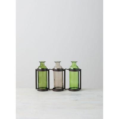 "Sullivans Three Glass Bottle Vase 6.5""H Green"