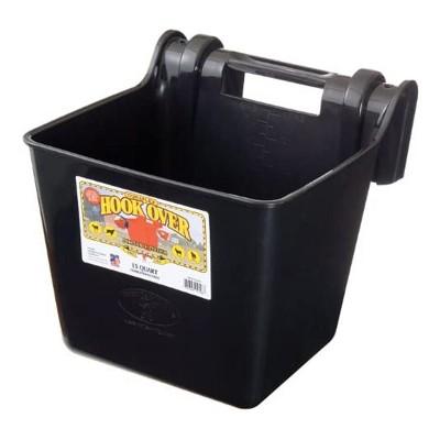 Little Giant HF15BLACK Heavy Duty 15 Quart Mountable Plastic Hook Over Feeder, Black