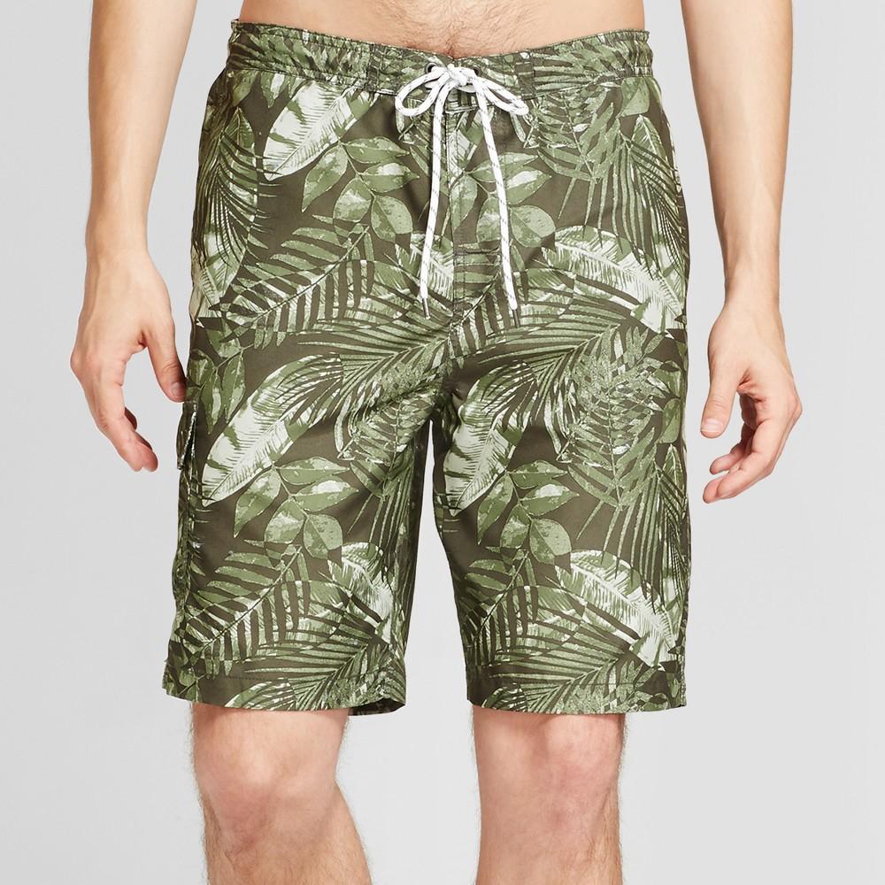 "Men's Board Shorts Tropical Leaves Print 9"" - Goodfellow & Co Green XS, Size: XS"