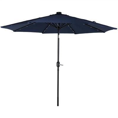 Aluminum Market Tilt Solar Patio Umbrella 9' - Blue - Sunnydaze Decor