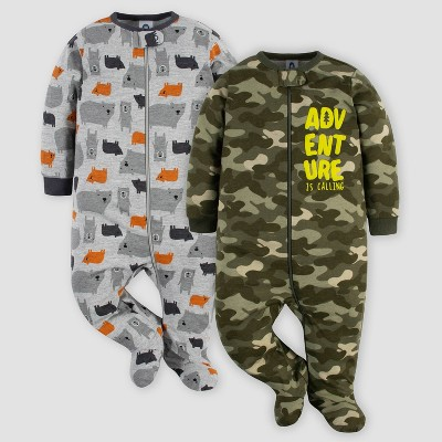 Gerber Baby Boys' 2pk Bears/Wild Sleep N' Play - Green/Gray 3-6M