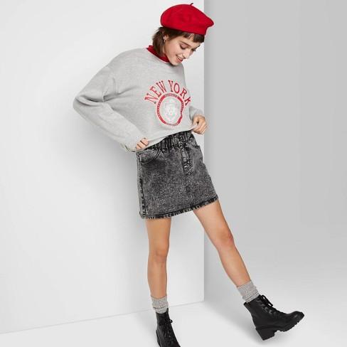 Women's Crewneck Oversized Sweatshirt - Wild Fable™ Heather Gray - image 1 of 3
