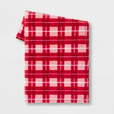 Plaid Plush Valentine's Day Throw Red/Blush - Spritz™