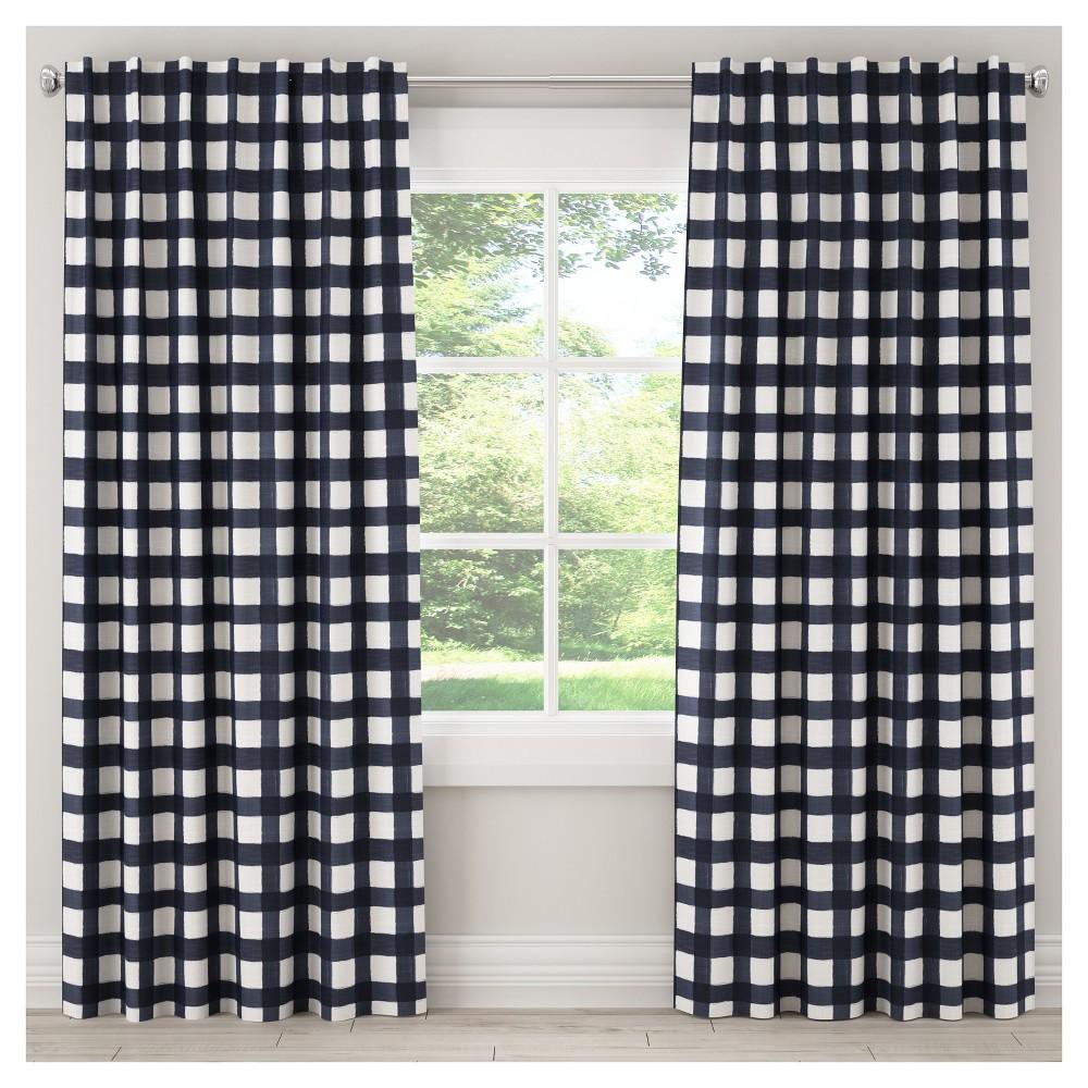 Blackout Buffalo Check Curtain Panel Blue (50x120) - Skyline Furniture
