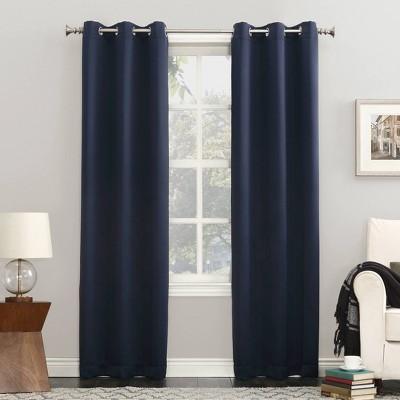 "63""x54"" Kenneth Energy Saving Blackout Grommet Top Curtain Panel Navy Blue - Sun Zero"