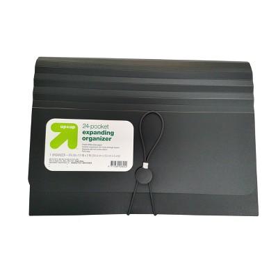 24 Pocket Expanding File Folder Organizer Letter Size Black - up & up™