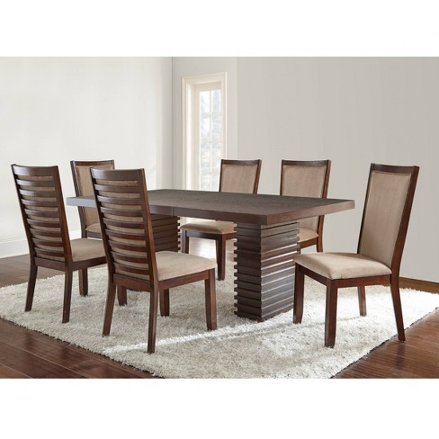 7pc Balton Dining Set Briana Chairs Camel - Steve Silver