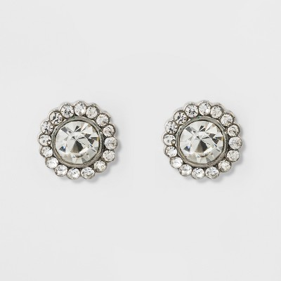 Pave Flower Stud Earrings - A New Day™ Silver