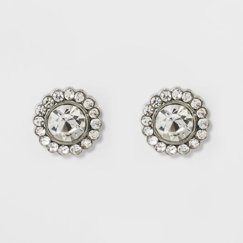 Pave Flower Stud Earrings - A New Day™ Silver - image 1 of 2