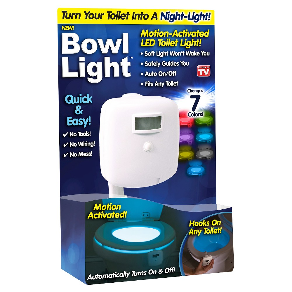 Image of As Seen on TV Motion-Activated LED Toilet Light, Clear