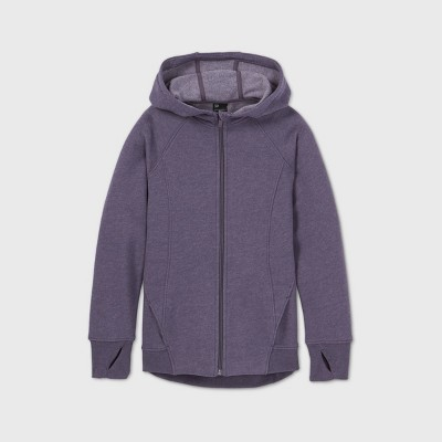Girls' Fleece Full Zip Hoodie Sweatshirt - All in Motion™ Dusty Purple XS