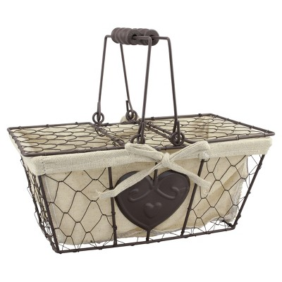 "Metal Basket with Lid 5.5"" x 11"" Taupe - CKK Home Décor"