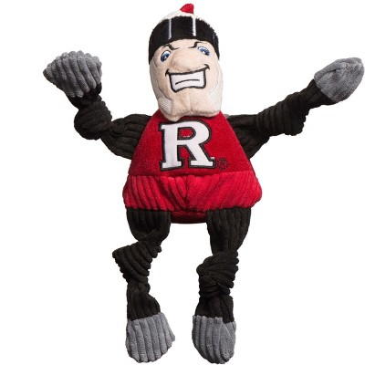 HuggleHounds Knotties Durable Plush Toy for Dogs with Multiple Squeakers, Rutgers Scarlet Knight Knottie