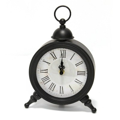 "6.25"" x 10"" Norman Table Clock Black - Stratton Home Décor"