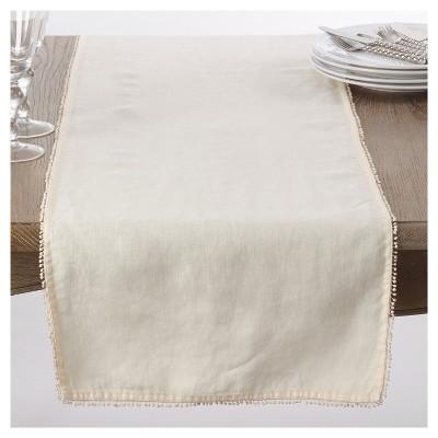 Cream PomPom Design Table Runner (16 x72 )- Saro Lifestyle®