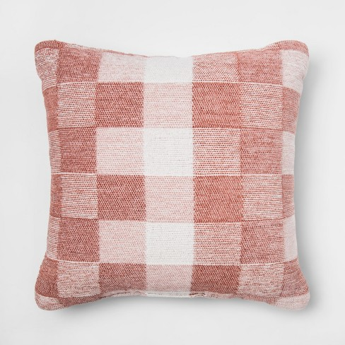 Checkered Jacquard Chenille Woven Square Throw Pillow Red Project 62