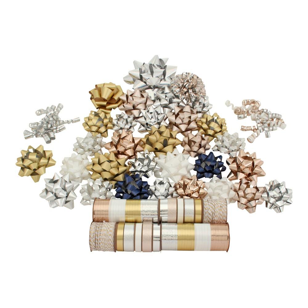 Gold/White/Silver Bow and Ribbon Boxed Kit - Wondershop