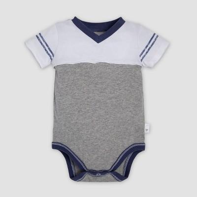 Burt's Bees Baby® Baby Boys' Organic Cotton Contrast Yoke Bodysuit - Heather Gray 0-3M
