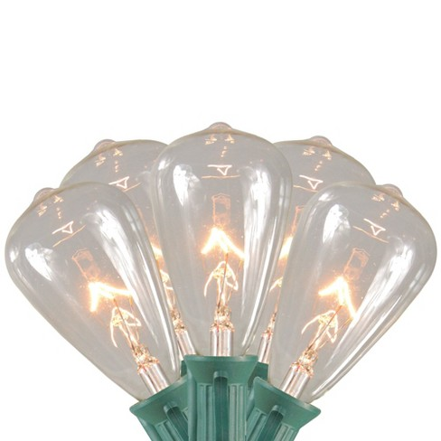 Clear Christmas Lights.Northlight 10ct Edison Style Glass Christmas Lights Clear 9 Green Wire