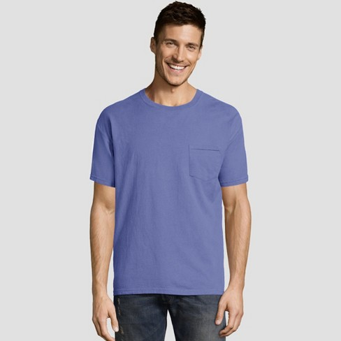 d4de3b3742cc Hanes Men's Short Sleeve 1901 Garment Dyed Pocket T-Shirt - Deep Blue S :  Target