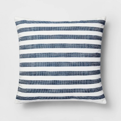 Square Woven Stripe Pillow White/Blue - Threshold™