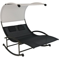 Double Chaise Rocking Lounge Chair with Canopy and Headrest Pillows - Black - Sunnydaze Decor