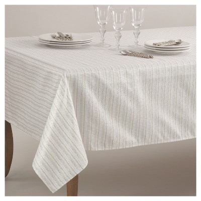 """65""""x160"""" Stitched Design Classic Tablecloth Ivory - Saro Lifestyle"""