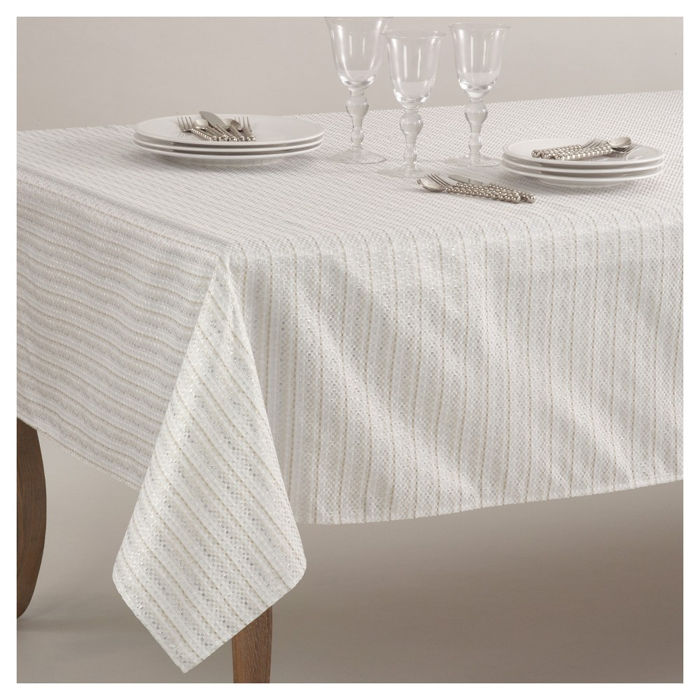 Ivory Stitched Design Classic Tablecloth (65x160) - Saro Lifestyle